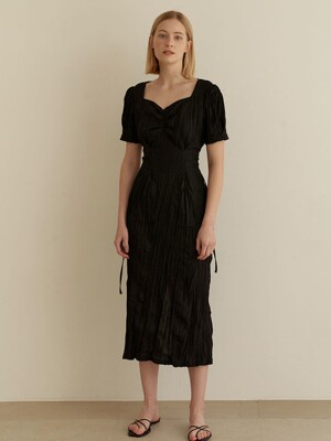 Halfmoon shirring dress-Black