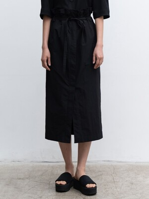 20SUMMER PAPERBACK MIDI SKIRT (BLACK)