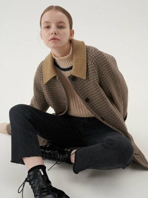 20' Fall_Brown Wool Check Half Coat