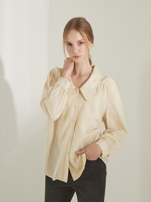 planet-10 roll collar blouse_beige