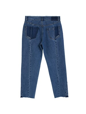 ORDINARY UNBALANCED VINTAGE BLUE DENIM PANTS