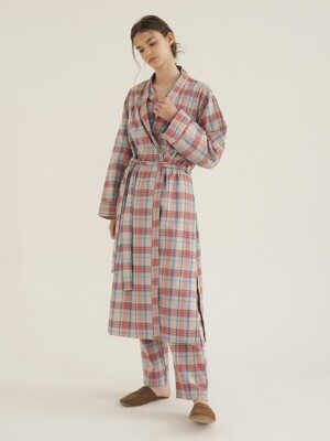 (w) Coral Plaid Robe
