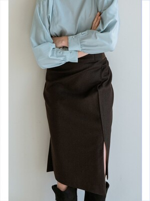 JOSEPHINE PENCIL SKIRT DARK BROWN