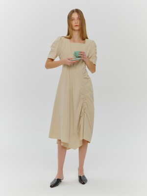 Square Neck String Dress, Butter