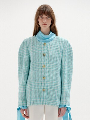 SYLVIA Round-Neck Jacket - Mint Check