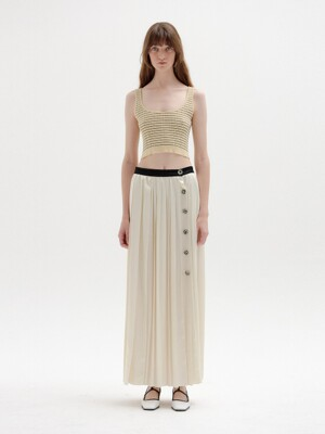 SOVEL Buttoned Pleated Skirt - Ivory