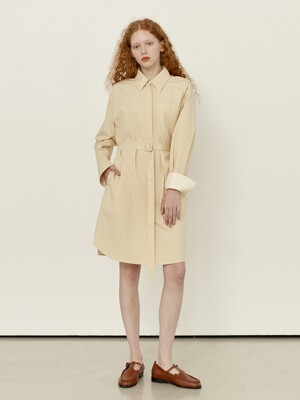 AEWOL Oversized shirt dress (Butter)