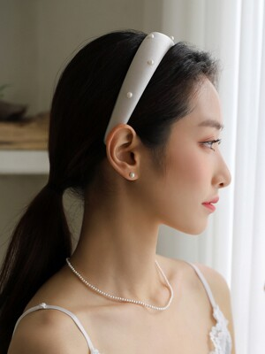 Grey satin pearl hairband