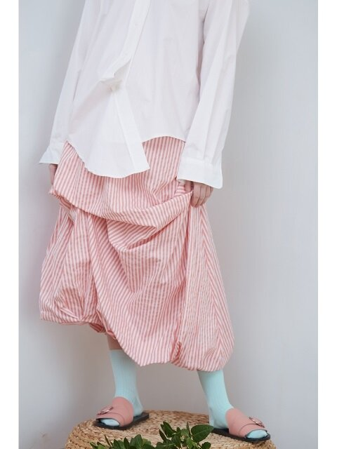 18SS DRAPING STRIPE SKIRT_PINK