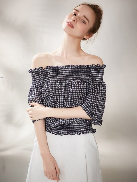 Plaid Band Off Shoulder Blouse