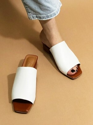 SQUARE SIMPLE MULE 4cm M-IG-180604 WHITECAMEL