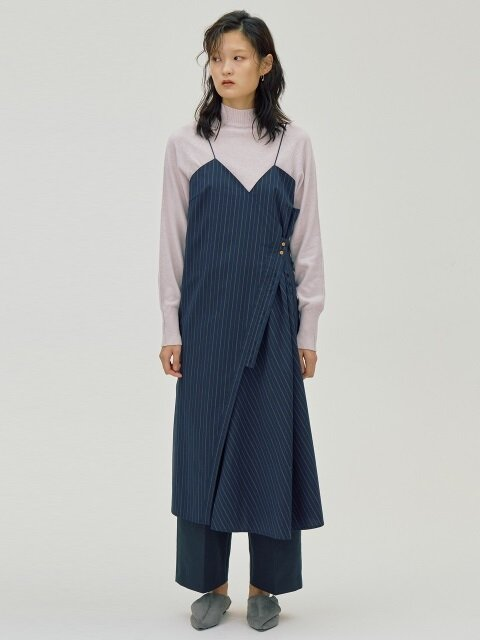 Button Stripe Dress_Navy