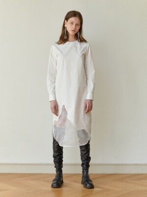 WAVE EMBROIDERED COTTON DRESS (WHITE)