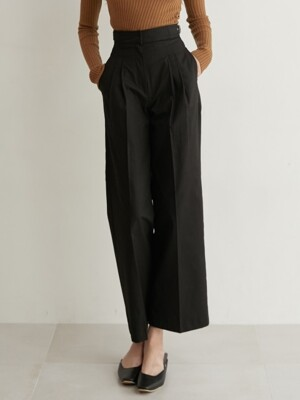 monts752 high-waist wide pants with buckle detail (black)