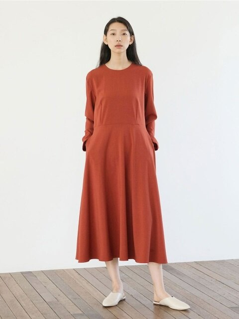Light Flared Dress - Orange