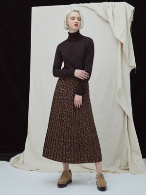 Leopard Pleat Skirt - dark brown