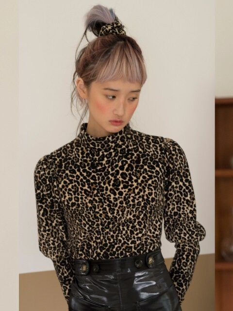LEOPARD PUFF BLOUSE T-SHIRTS