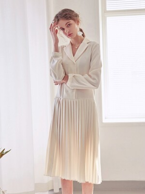 PLEATS DOUBLE LONG OPS_IVORY