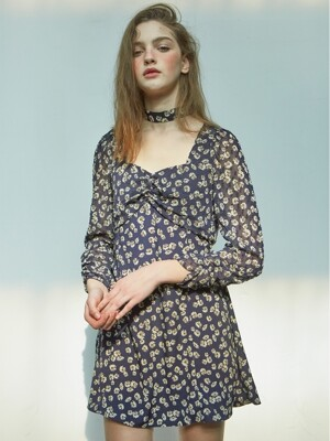 Chiffon Sleeve Square Neck Dress_ Navy