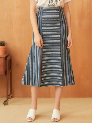 STRIPE SLIT SKIRT-NV