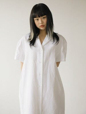 19SS LINEN LONG SHIRTS DRESS /WHITE