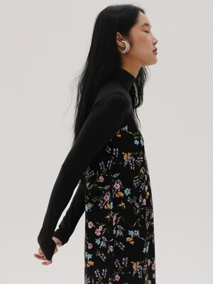 [TC19AWOP03] FLOWER PRINT COMBINATION JERSEY DRESS