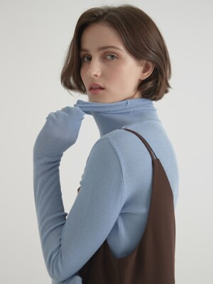 Cashmere blended 16gaze pullover knitwear - Light blue
