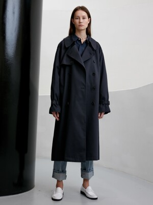 UNISEX CLASSIC OVERSIZED TRENCH COAT (NAVY) UDTR9F101N2