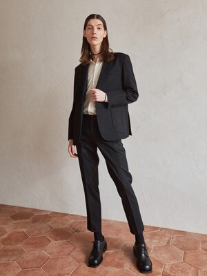 Wool Gabardine Set-up Trouser (Black)