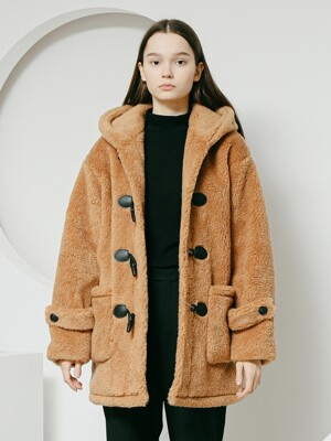 Lambs wool duffle coat brown women