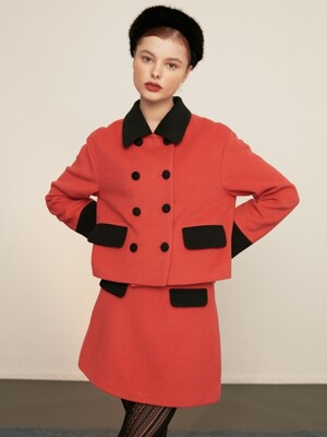 [EXCLUSIVE] double button wool jacket_red