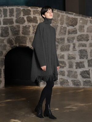 Scarf cable turtleneck dress_Gray