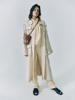 20SS LOW COLLAR POCKET TRENCH COAT - CREAM