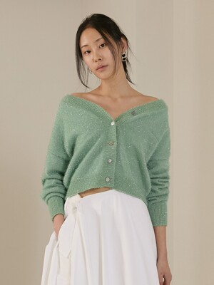 [단독][BC20SSKN10-1] METAL YARN KNIT CARDIGAN [MINT]