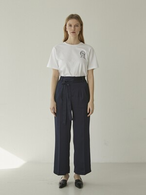 Double Strap Silky Wide Pants - Navy