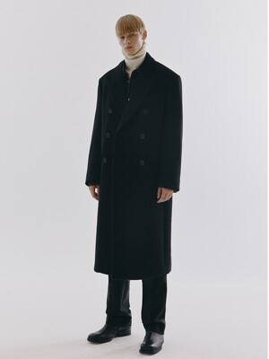 UNISEX NEW TAILORED DOUBLE-BREASTED CASHMERE COAT BLACK_M_UDCO0F115BK