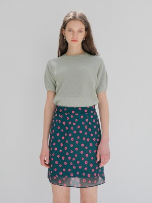 [SET] TWO TONE KNIT_MINT + FLOWER PRINT SKIRT_GREEN