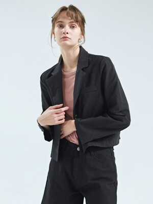 IRIS CROP LINEN JACKET_BLACK