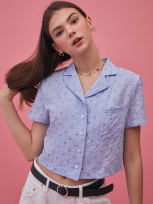 GR CROP SHIRT(BLUE)