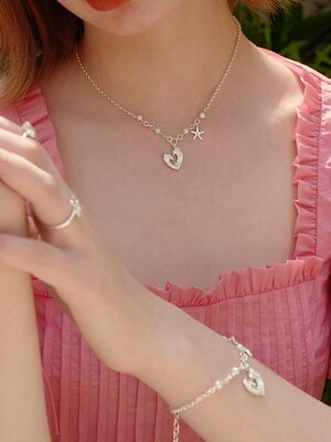 Wave Heart Pearl Necklace
