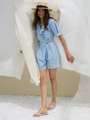 IRIS WRAP JUMPSUIT, SKY BLUE
