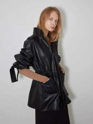 Vegan Leather String Long Jacket_BK