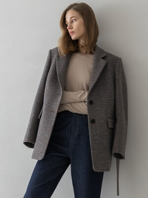 Button Detailed Check Wool Jacket