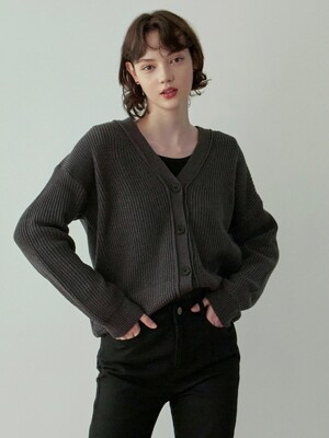 V LOOSE KNIT CARDIGAN_CHARCOAL