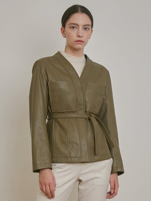 FAUX LEATHER COLLARLESS BELT JACKET [BLACK] [KHAKI] [BEIGE]