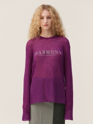 HARMONY SHEER KNIT TOP, PURPLE