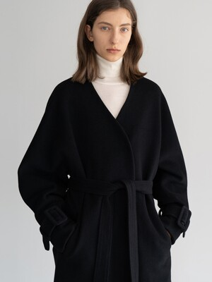 20FW BUCKLED-WRIST WOOL COAT (BLACK)