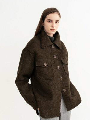 FANCY WOOL BONDING COAT (KHAKI)