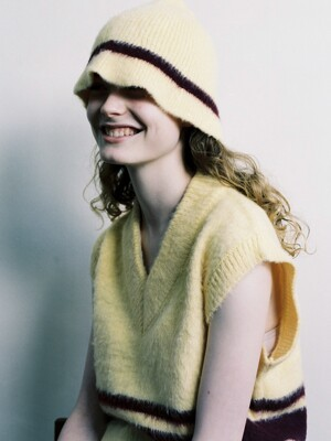 Mohair Blend Stripe Knit Hat / Lemon