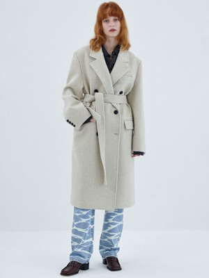 WINTER DOUBLE-BREASTED WOOL COAT, IVORY